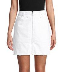 front-zip denim mini skirt