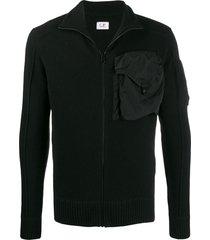 c.p. company chest pocket slim-fit cardigan - black