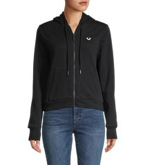 true religion women's logo hooded jacket - black - size m