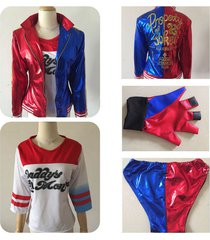dc movie suicide squad harley quinn shirt top glove jacket cosplay costume set