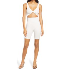 naked wardrobe love u knot cutout romper, size small in off white at nordstrom