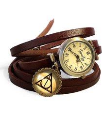 skórzany zegarek zakręcany insygnia śmierci