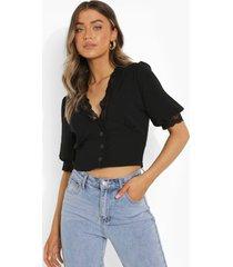 blouse met knopen en kanten zoom, black