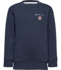 d1. medium shield sweat c-neck sweat-shirt trui blauw gant