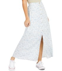 be bop juniors' floral-print button-up maxi skirt