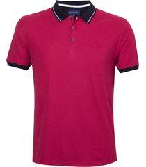 polo dudalina manga curta sport stripe masculina (rosa escuro, gg)
