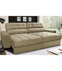 sofã¡ retrã¡til e reclinã¡vel com molas ensacadas cama inbox master 2,32m tecido suede bege - incolor - dafiti