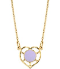 2028 14k gold dipped heart with round circle light blue enamel necklace 16""