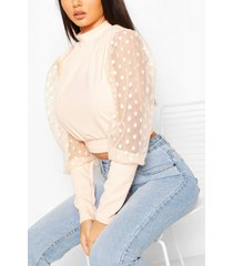 dobby mesh high neck top, blush