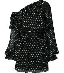 polka-dot one shoulder dress