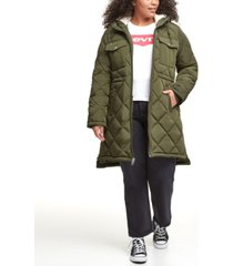 levi's trendy plus size diamond-quilted hooded long parka jacket