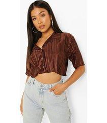 petite korte plisse blouse met shirtmouwen, chocolate