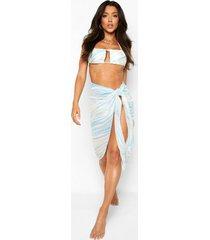 chiffon marmerprint strand sarong, blue