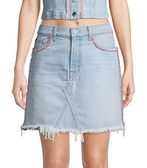 fringed denim mini skirt