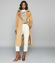 reiss everley - wool blend belted trench coat in camel, womens, size 10