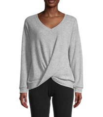 sweet romeo women's v-neck twist sweater - optic white - size m