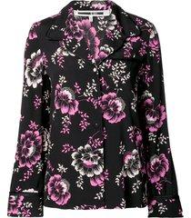 mcq swallow floral print lounge shirt - black