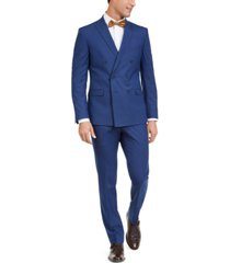 kenneth cole reaction men's slim-fit ready flex performance stretch double breasted blue slim stripe suit