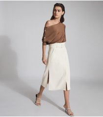 reiss luno - belted midi skirt in white, womens, size 14