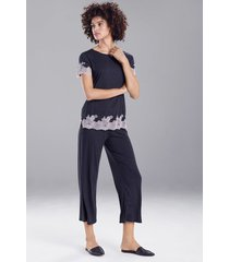 natori luxe shangri-la short sleeve pajamas / sleepwear / loungewear set, women's, grey, size m natori