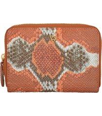 women's kelly wynne money maker leather zip wallet - orange
