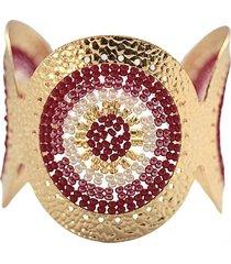 brazalete imperial tejido a mano baño oro burdeo perlado bijulovers