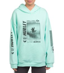 hurley palm trip oversized perf fleece hoodie