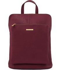 tuscany leather tl141682 tl bag - zaino donna in pelle morbida bordeaux
