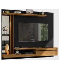 painel denver para tvs até 55 pol. led elétrico preto fosco/cinamomo móveis bechara