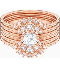 anello per sovrapposizioni penã©lope cruz moonsun, bianco, placcato oro rosa