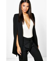 longline tailored crepe cape, black
