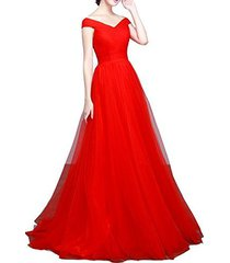off shoulder tulle pleats simple long prom evening dress bridesmaid gown red us