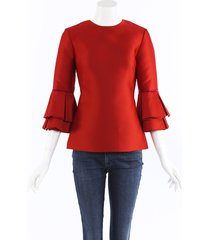 brandon maxwell tiered cuff satin top red sz: xs