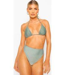 essentials mix & match hoog uitgesneden bikini broekje, sage