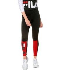 leggings negro-rojo fila