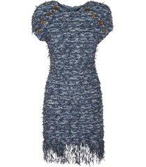 balmain button embellished tweed dress