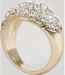 anel feminino com strass dourado