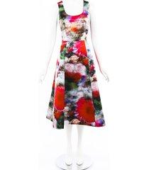 adam lippes floral duchesse satin dress multicolor/floral print sz: m