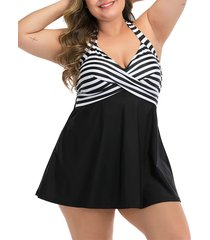 halter striped twist skirted plus size one-piece swimsuit