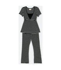 pijama maternidade longo em viscolycra estampa listras | lov | preto | p