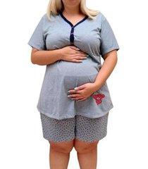 pijama doll plus size linda gestante pós parto amamentação botões feminino - feminino
