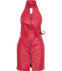 vestido couro gola alta - vermelho