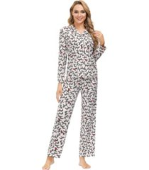 echo women's ribbon folded notch 2 piece pajama set