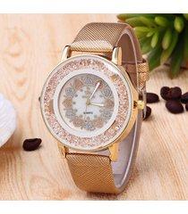 donna orologio classico in quarzo da polso in pelle pu con pietra e perline a forma di cuore a wholesale