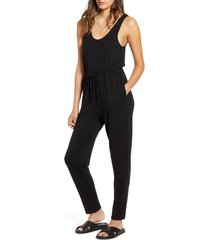 women's bp. tie waist jumpsuit, size large - black