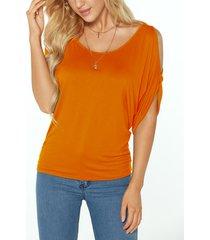 orange scoop cuello amarre de hombro frío en la camiseta de la espalda