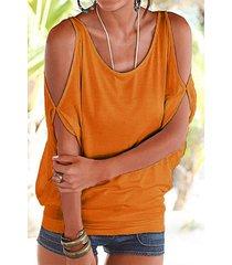 orange scoop cuello atado con hombros descubiertos en la parte posterior de la camiseta