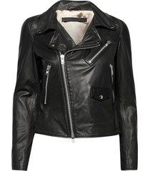 bronco thin leather jacket leren jack leren jas zwart mdk / munderingskompagniet