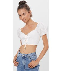 cropped popeline t-shirt