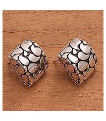 sterling silver button earrings, 'bali paisley' (indonesia)